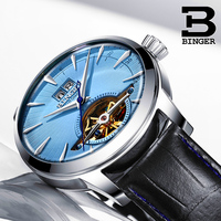 Switzerland BINGER Watches Relogio Masculino Automatic Watches For Men Mechanical Skeleton Tourbillon Casual Leather Blue Clock