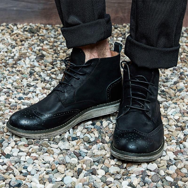 Velvet Marea A Negro De Los Bullock Tallado brown Para Alta marrón Botas Hombres Martin Velvet Ayudar Retro Cuero En Zapatos Plus black La 6aBqPw