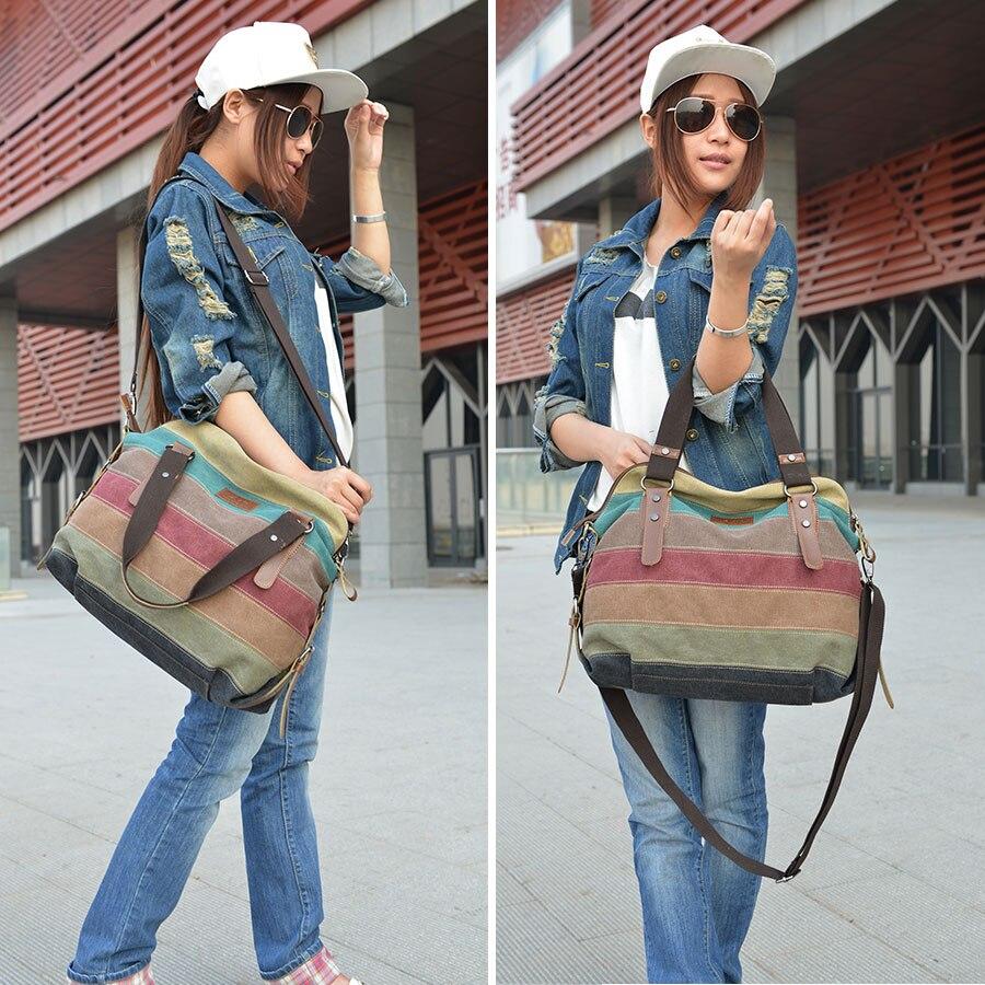 Colorful Women Canvas Shoulder Bag Large Satchel Handbags Ladies Patchwork Crossbody Messenger Bag Female Casual Tote Bag 1196 #2