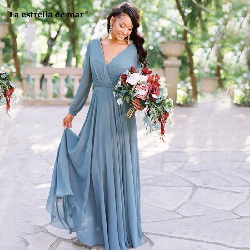 2019 Bohemia V Neck Chiffon Long   Bridesmaid     Dresses   Long Sleeves Ruched Floor Length Wedding Guest Maid of Honor   Dresses