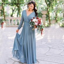 2021 Bohemia V Neck Chiffon Long Bridesmaid Dresses Long Sle