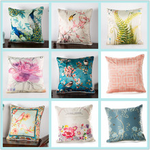 New Thick Imitation Silk Cushion Cover 45x45cm Peacock Flower Bird Painted Chinese Pillow Case Sofa Office Home Decor