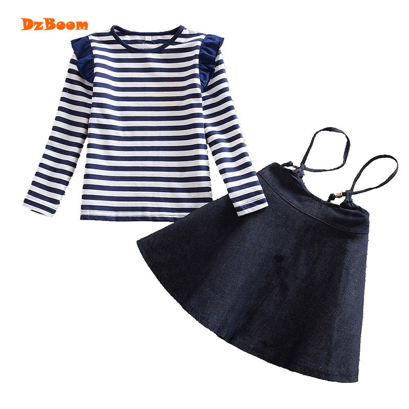 DzBoom Tops Skirt Kids Clothes Suits For Girls Spring Autumn Fashion Children Stripe Long Sleeve Clothing Set Cute Girl Outfits high quality new spring autumn girls clothing sets kids clothes girls solid skirt tops set children clothing