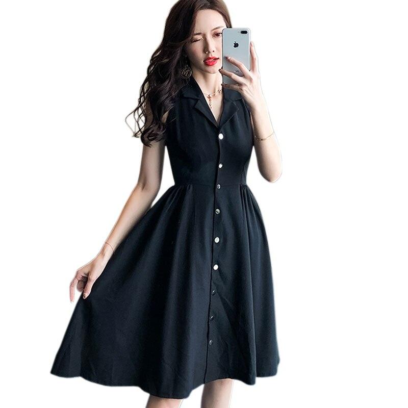 Coréen élégant sans manches simple boutonnage dames robe été 2019 noir col en v col en v a-ligne Slim Fit robe mi-longue
