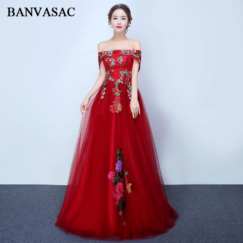 BANVASAC 2018 Boat Neck Flowers Embroidery A Line Long Evening Dresses Party Lace Short Sleeve Backless Prom Gowns