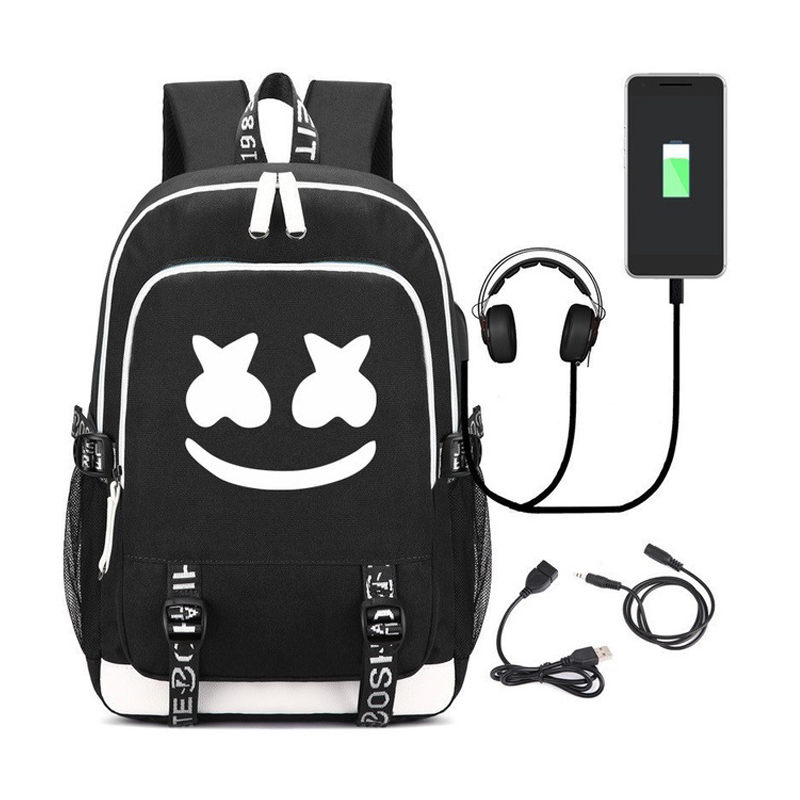 Marshmello Fashion Backpack Personality mystery Teenager School Bag Oxford USB Charge backpacks Leisure Luminous  Unique PacksMarshmello Fashion Backpack Personality mystery Teenager School Bag Oxford USB Charge backpacks Leisure Luminous  Unique Packs