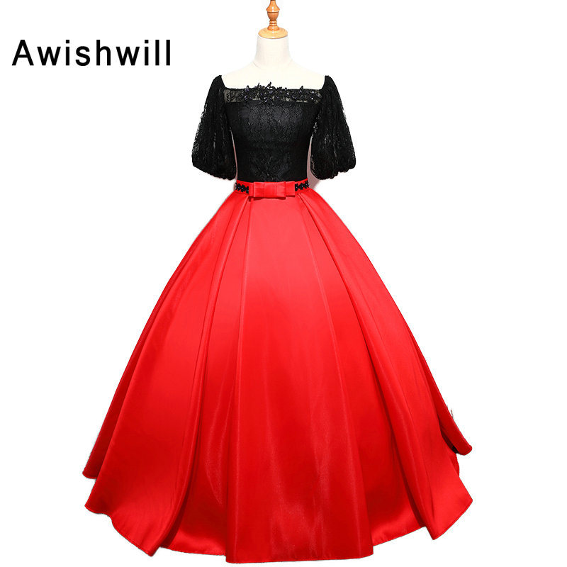 Real Photo Black and Red Ball Gown Prom Dresses With Sleeves Boat ...