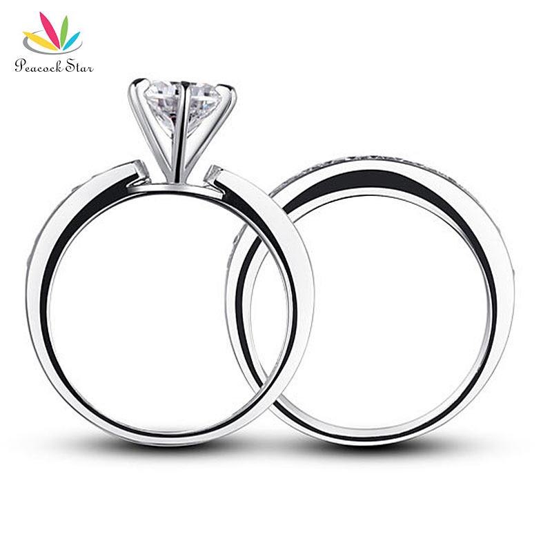Павлин Star 1 карат Круглый Серебро 925 пробы 2-Pcs обручальное для годовщины помолвки кольцо комплект CFR8014