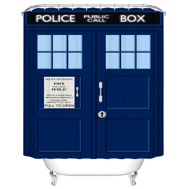Shower Curtain Tardis Doctor Who Printed Waterproof Polyester Bath Curtain  Bathroom Accessories Curtains Home Decoration Mat
