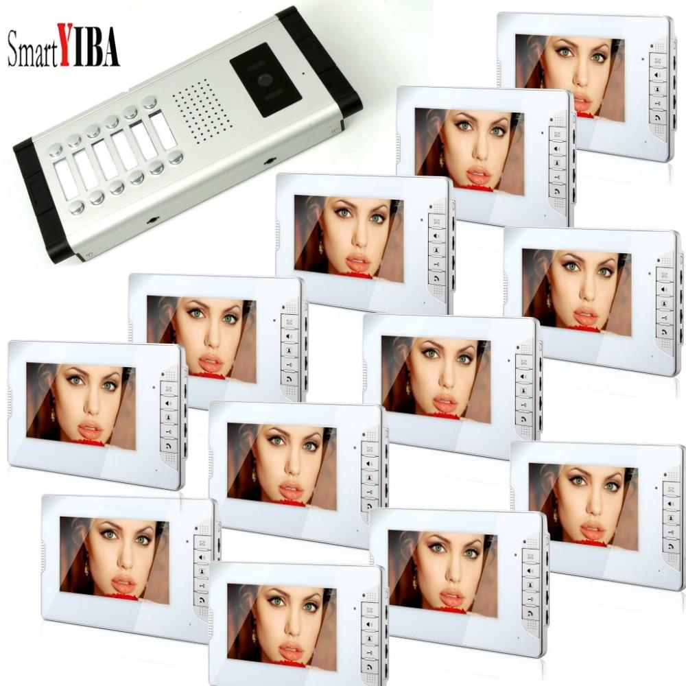 SmartYIBA квартира/Семья 7 видеодомофон визуальных систем, проводной видео домофон комплекты дверных звонков с HD 1 Камера 12 мониторов