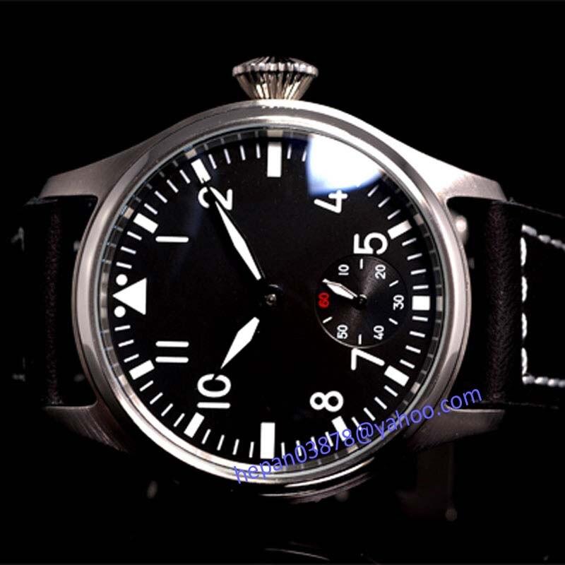 Saatler'ten Mekanik Saatler'de Parnis izle 47mm siyah kadran Aydınlık 6498 Mekanik el rüzgar hareketi erkek saati 92'da  Grup 1