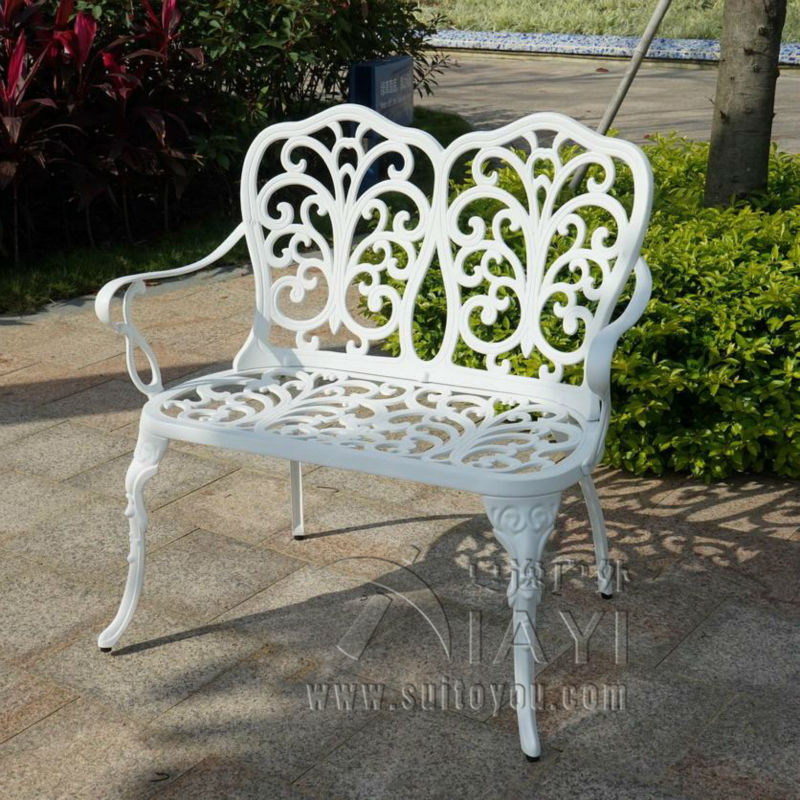 2 person cast aluminum rust proof patio bench path chair ...