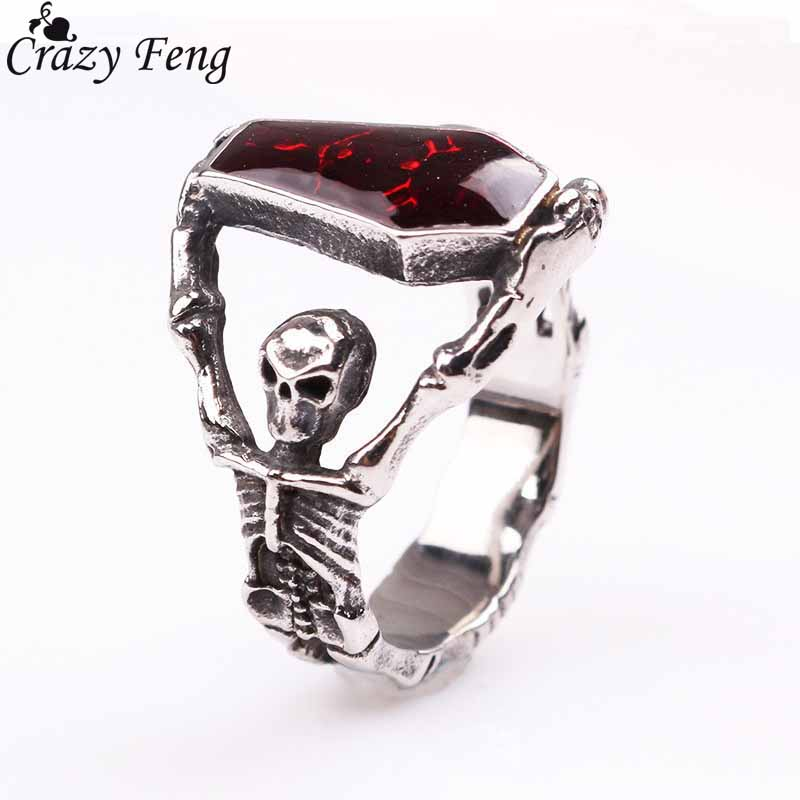 Женское кольцо с черепом Crazy Feng, готическое панк кольцо из нержавеющей стали с опалом и черепом, ювелирные изделия в подарок