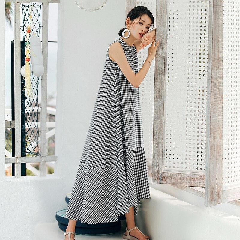 c0273028349 VERRAGEE Vintage long shirt dress women 2018 New Summer plaid dress ruffled loose  Maxi sleeveless Maxi dress
