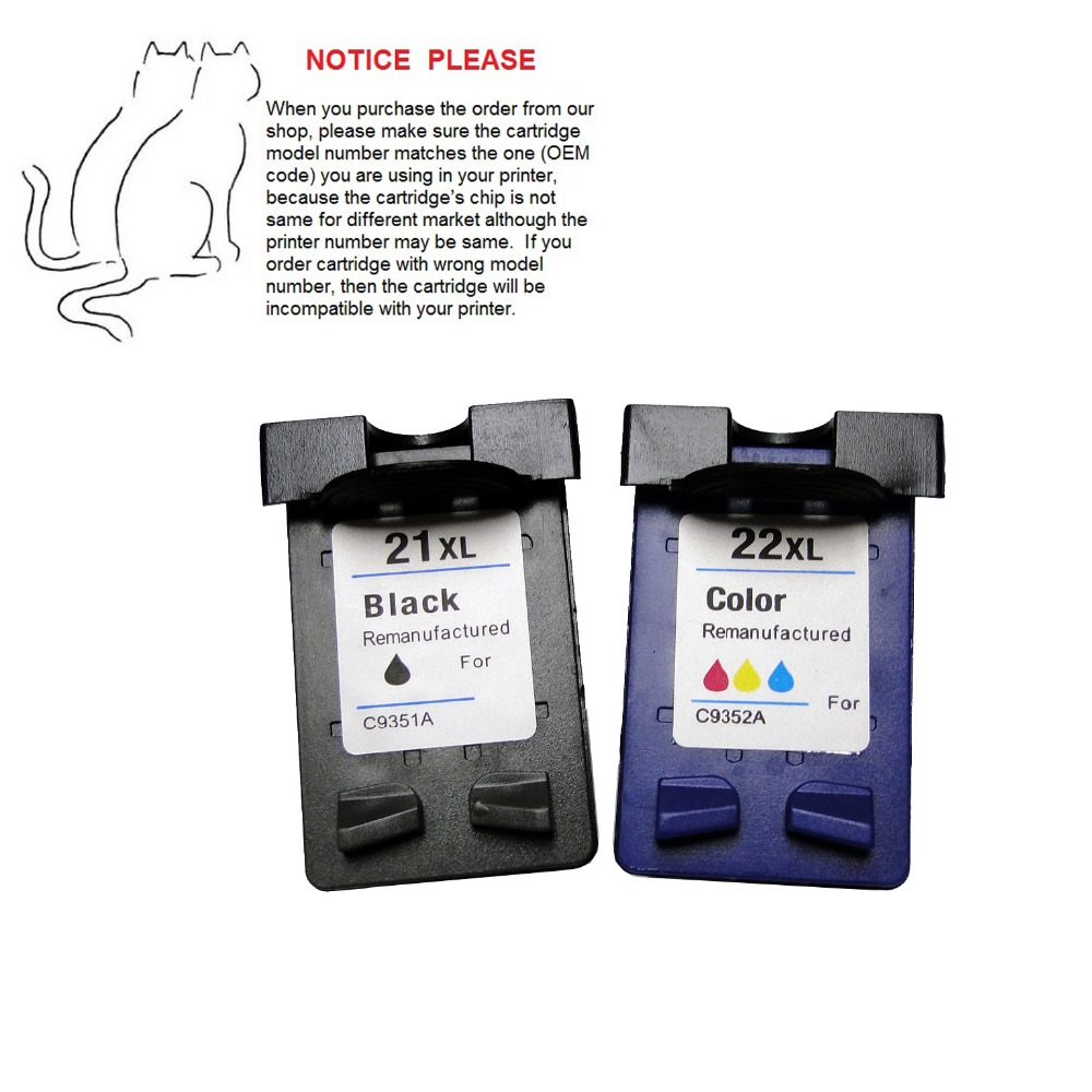 YOTAT 1set Remanufactured ink cartridge for HP21 HP22 HP21XL HP22XL for HP Deskjet F380 F300 F2120 F2180 F2280 F2179 F4180 3910 1pk replaces ink cartridge for hp22 c9352a c9352an c9352an 140 suit for deskjet d2320 d2330 d2345 d2360 d2368 d2400 printers