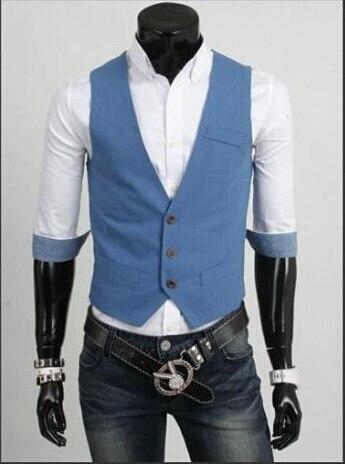 Мода Slim Фитнес Для мужчин жилет весна Для мужчин жилет Блейзер Жилеты цвет 5 Для мужчин Топы корректирующие одежда - Цвет: Синий