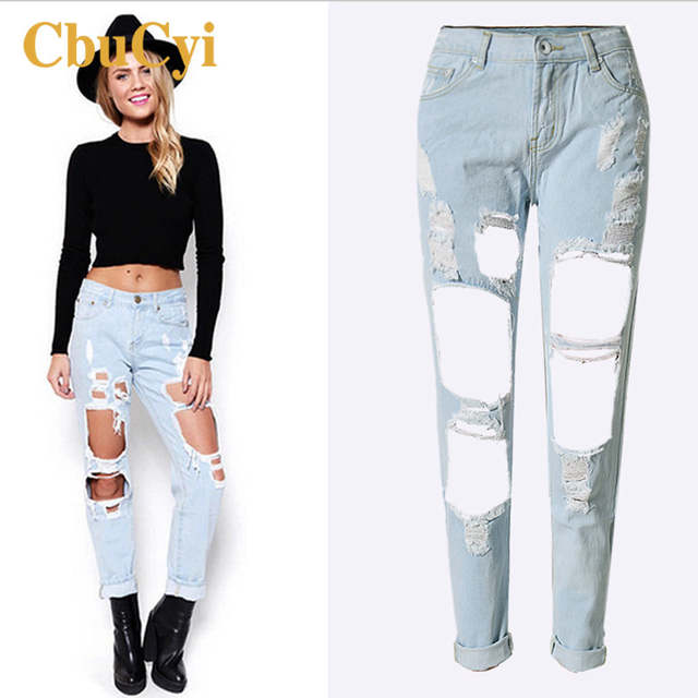 a3dfdf69f5d Online Shop CBUCYI Top Selling Fashion Boyfriend Street Style Ladies Sexy Jeans  Women Loose Denim Scratch Ripped Hole Pencil Jeans Trousers
