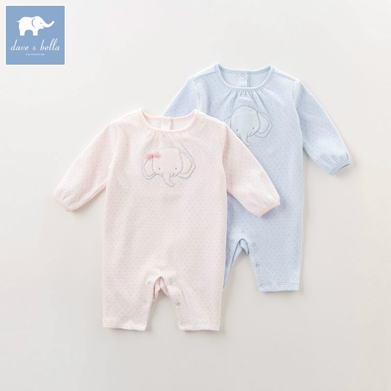 DB6052 dave bella autumn new born baby girls boys romper infant baby 1 piece clothes children elephant print toddler romper puseky 2017 infant romper baby boys girls jumpsuit newborn bebe clothing hooded toddler baby clothes cute panda romper costumes