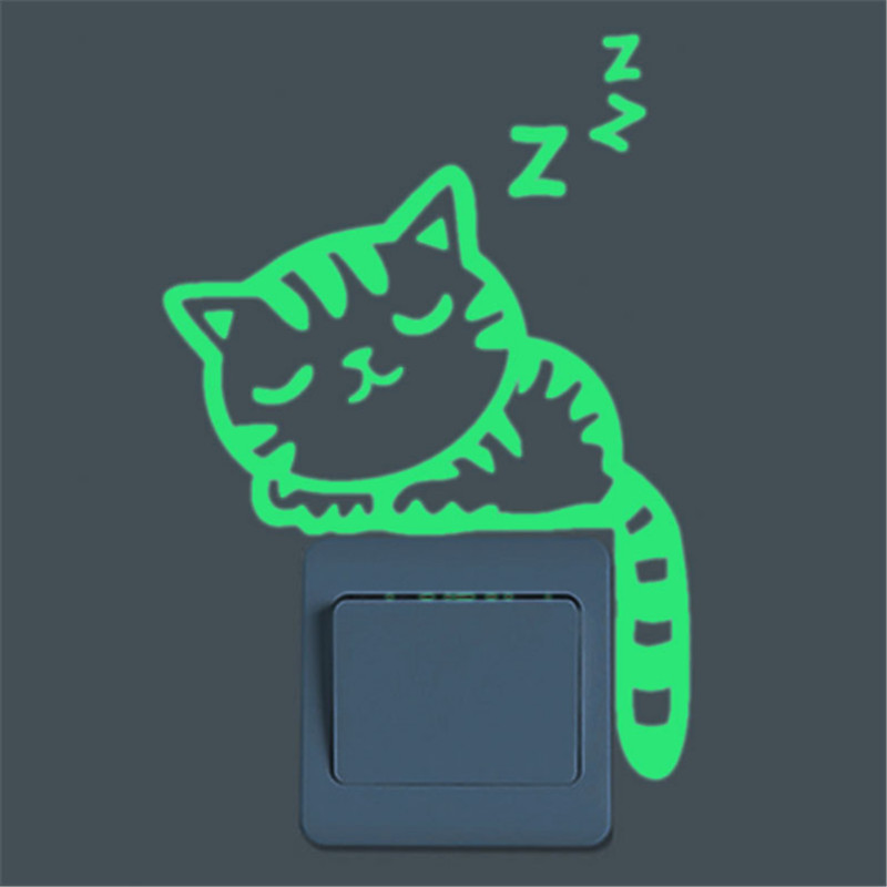 Lichtgevende Stickers Sleepy Cat / Star Moon Glow in the Dark DIY Schakelaar Sticker home decor voor Kid Kamer Fluorescerende Sticker poster