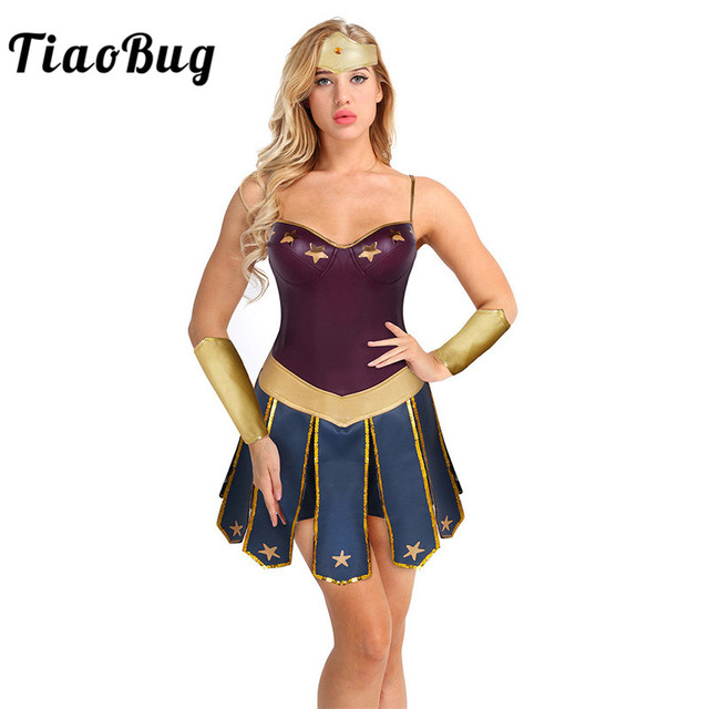 1ac886375a91 TiaoBug Sexy Women Princess Halloween Costume Anime Cosplay Party  Masquerade Kit Sleeveless Dress with Headdress Hand Guard Set