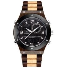 hight qualitywatchManufacture relogiomasculinoMen;s WoodenWatchesQuaintLuxuryAlarmClock Men Ebony Wood Band Dual Display Watch