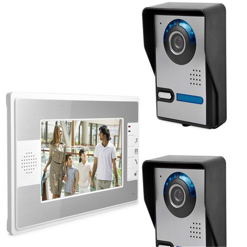 Wired 7'' Color Screen Video Intercom Video Door Phone Intercom System + 1White Monitor + 2 IR Night Vision Outdoor Door Camera video intercom system 4 3 tft lcd handset screen 2 monitor wired video doorphone for 2 apartment night vision camera