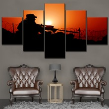 Modern Home Decorative Sunset Landscape Sniper Shadow One Set Modular Wall Artwork Picture 5 Piece Canvas Painting HD Print Type