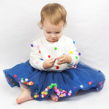 0-12Y/New Kids Girls Skirt Tulle Skirt Colorful Pompom Princess Dance mini tutu Skirt Elastic Waist Pettiskirt Baby Clothes A311