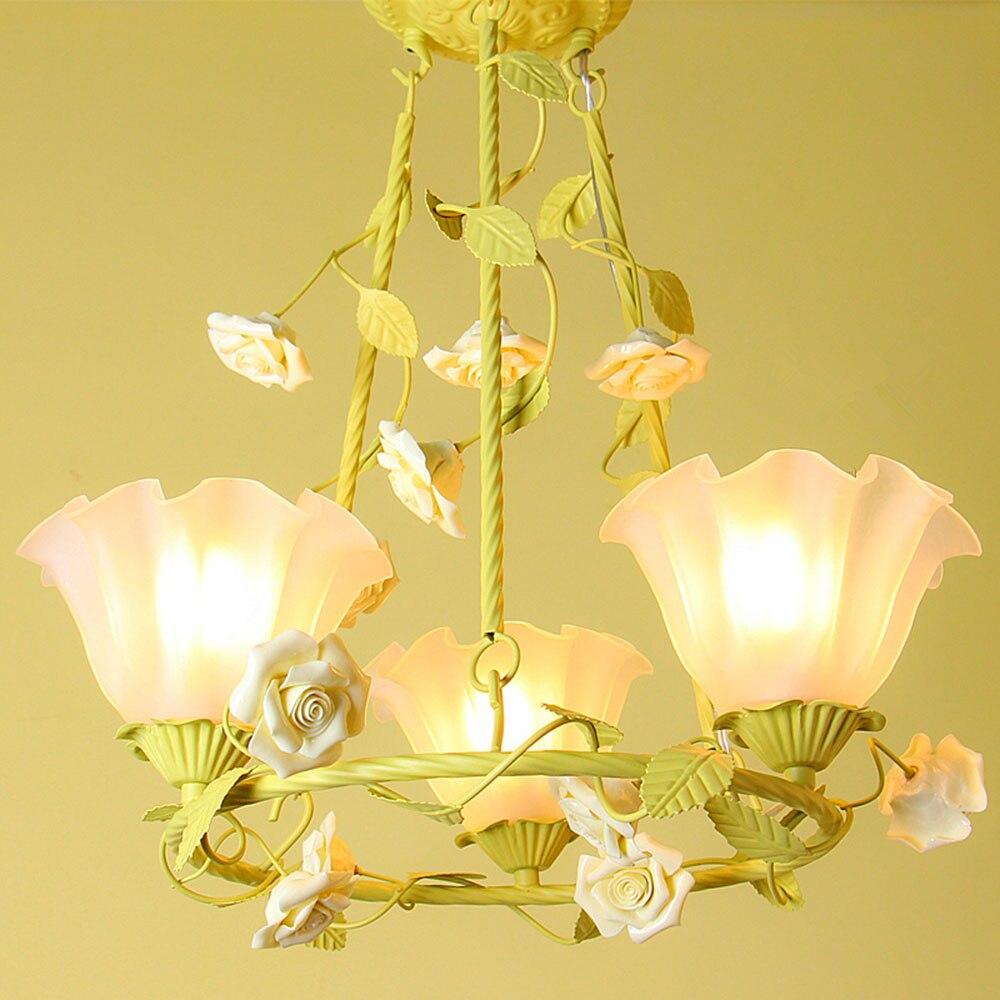 Люстра цветок светодиодный кованого железа ясли огни 110-220 В дома Освещение Теплый Розовый Блеск Люстры Luminarias