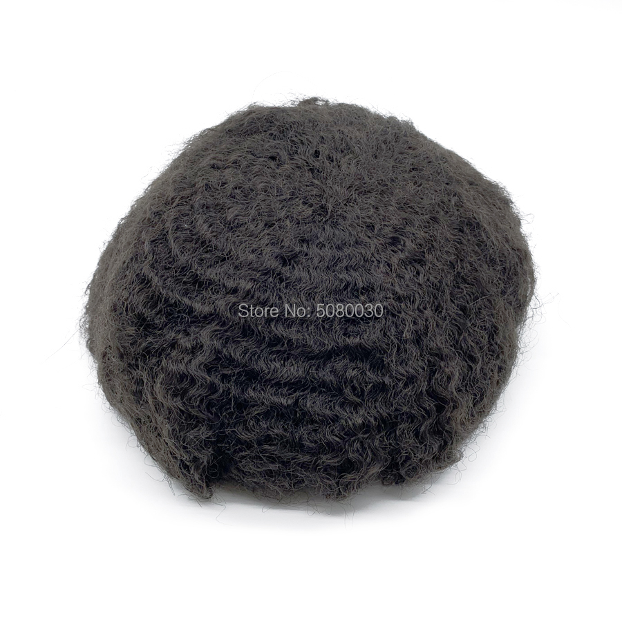 Afro Toupee Hairpiece Swiss Lace With Around Pu 100% Human Hair For Men