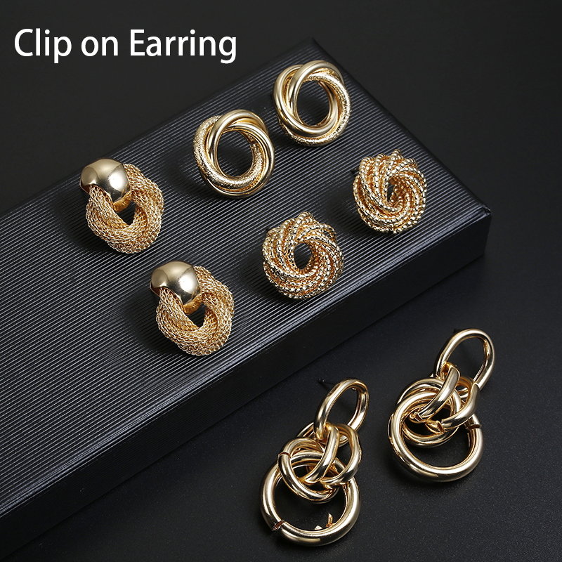 Hot Sale ZA Metal Maxi Statement Vintage Clip on Earrings Without Piercing for Women Fashion Earrings Party Gift Bijoux Jewelry(China)
