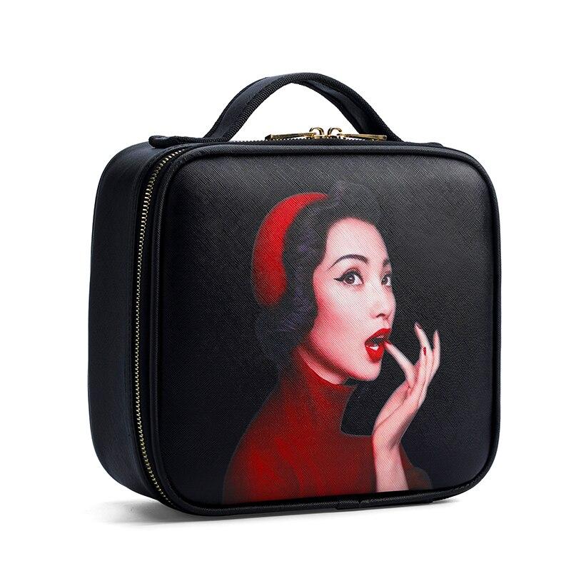 2019 New Brand Makeup Box Artist Professional Beauty Cartoon Cosmetic Case Makeup Bag Tattoo Nail Multilayer Toolbox Storage Bag