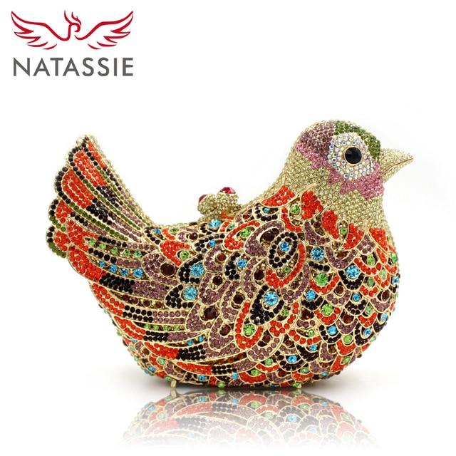 NATASSIE Women Evening Bags Ladies Bird Shape Crystal Party Clutches Bag Female Wedding Diamonds Purses