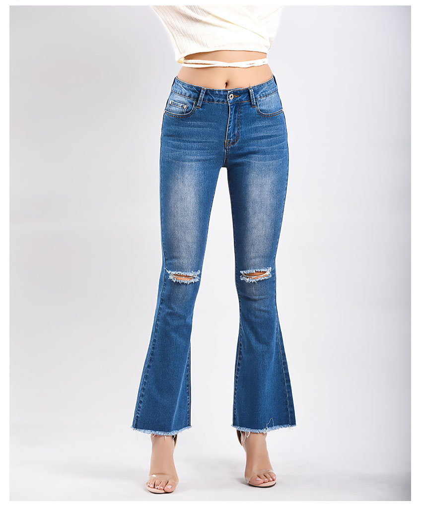 Women\`s dress of Europe and America 2018 new wide leg trousers jeans denim flared trousers women\`s worn-out edge trousers (9)