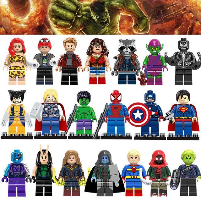 Marvel Homem De Ferro Hulk Avengers Superheros Spiderman Big Batman Veneno Carnificina Grinch figuras Blocos de construção para o miúdo brinquedos Tijolo