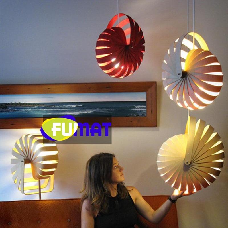 Nordic Art Nautilus Pendant Light Wood LED Pendant Lamp Children Room Creative Design Bedside Wood Hanging Lamp