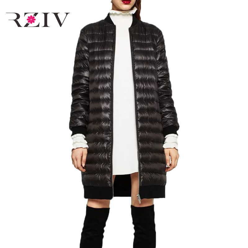 RZIV 2016 autumn and winter women casual Solid color long down jacket