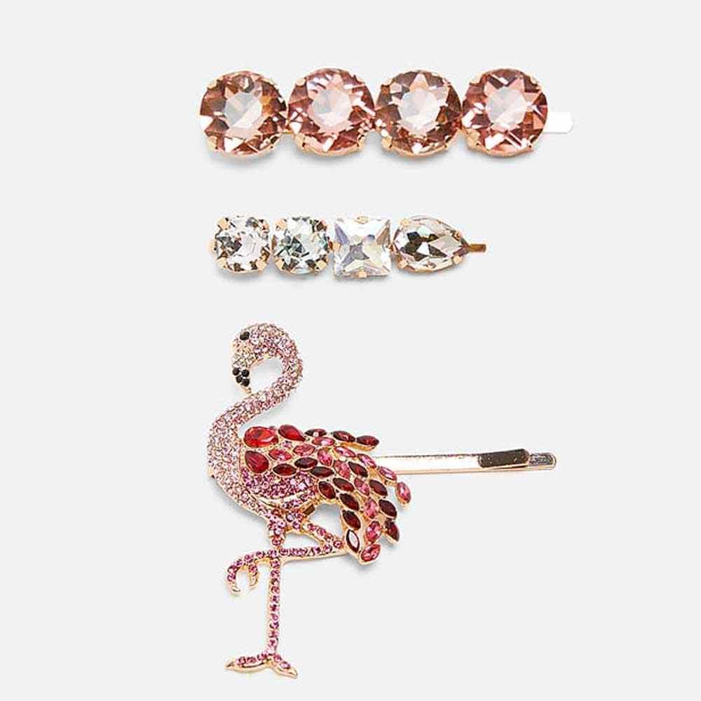 Girlgo Fashion Za White Crystal Hair Clips For Women Luxury Rhinstones Hairpins Hairgrips Maxi Flamingo Hairwear Wedding Jewelry