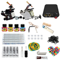 Professional tattoo kit 2 guns machines 4 ink sets power supply Complete Tattoo kits 8 wrap coils guns machine cheap tattoo kit