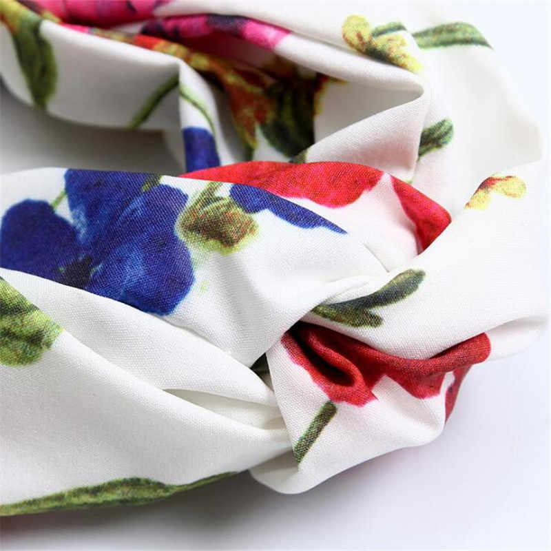 Чешские атласная с цветочным принтом тюрбан с узлом ободок Девушки Женщины волос руководитель полосы обруча аксессуары для упаковки для Для женщин резинки для волос лентой