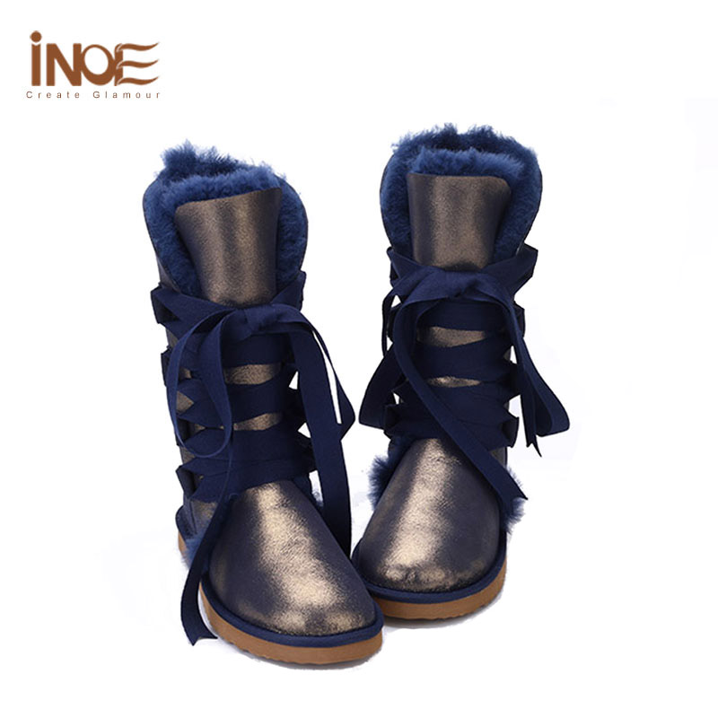 Fur Lined Boots Sheepskin Leather Navy Blue Knee High Boots Winter ...