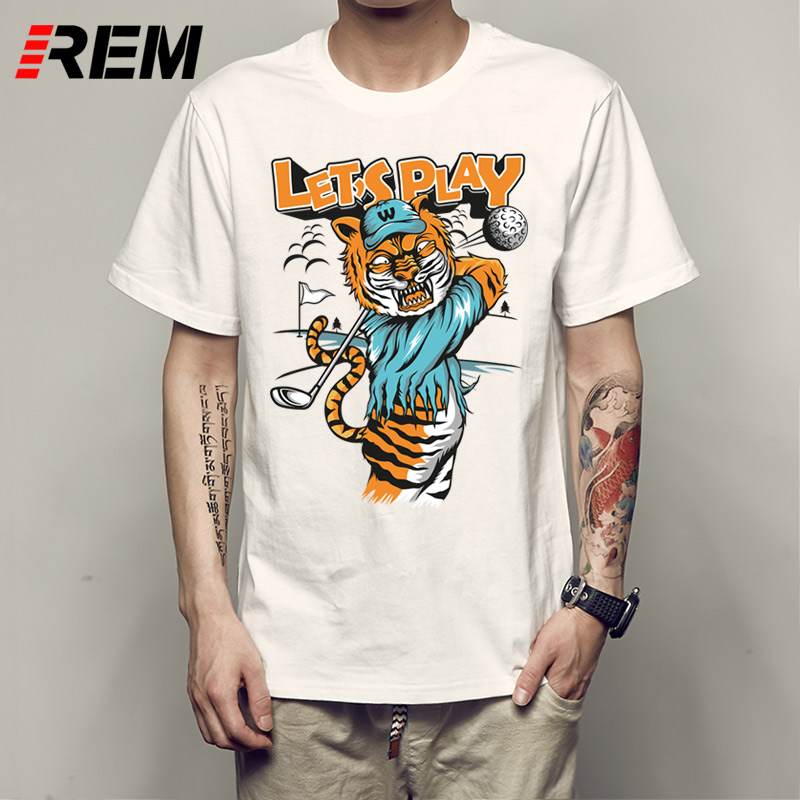 REM New Brand golfes tiger man t-shirt letter printed cotton short sleeve t shirt loose fashion style P531818