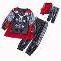 Nuevo Batman Capitán América Conjuntos Muchachos de la Ropa de Primavera de Algodón Traje Ropa de Bebé Niños Camisetas Pantalones 2 Unidades se Adaptan Ropa de Niños
