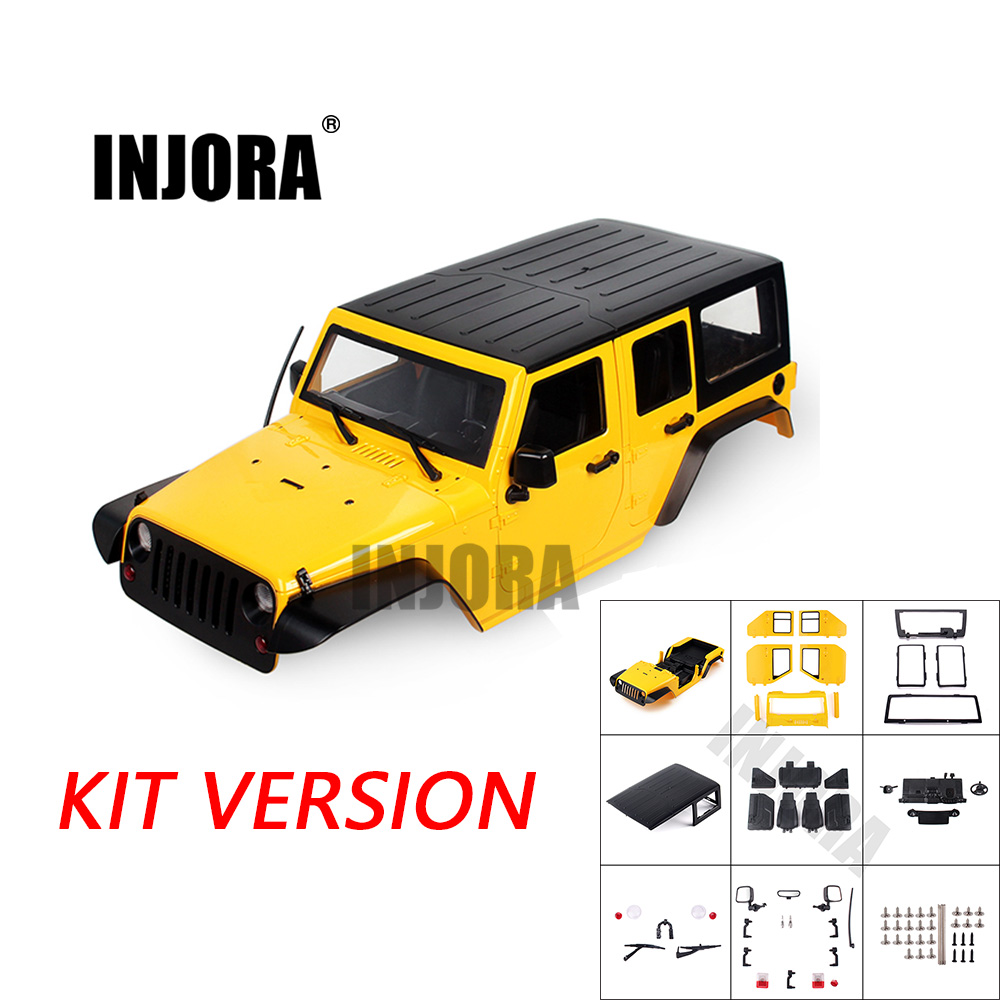 INJORA Unassembled 12.3inch 313mm Wheelbase Body Car Shell For 1/10 RC Crawler Axial SCX10 & SCX10 II 90046 90047 Jeep Wrangler
