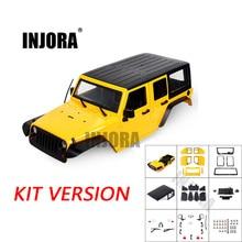INJORA non assemblé 12.3 pouces 313mm empattement carrosserie coque de voiture pour 1/10 RC chenille axiale SCX10 & SCX10 II 90046 90047 Jeep Wrangler