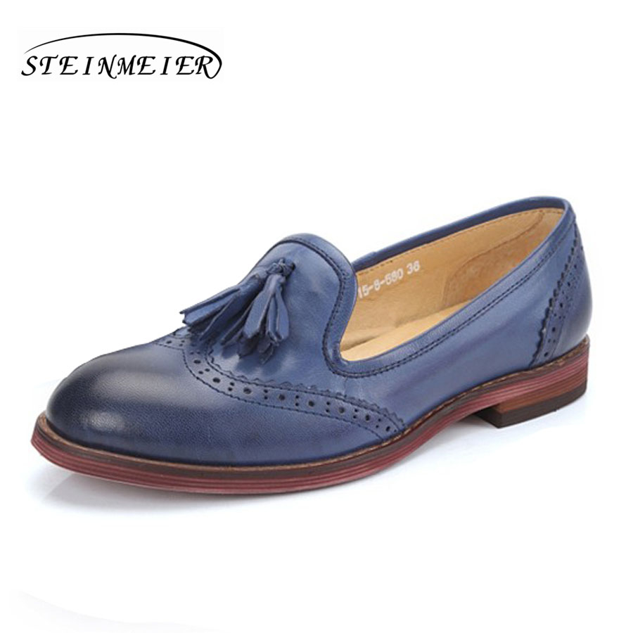 a5e60b755b676 US $57.59 52% OFF|100% Genuine sheepskin leather brogues yinzo ladies flats  tassel shoes handmade vintage oxford shoes for women red brown blue-in ...