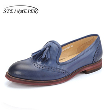 100% Genuine sheepskin leather brogues yinzo ladies flats tassel shoes handmade vintage oxford shoes for women red brown blue genuine leather designer brogues vintage yinzo flats shoes handmade oxford shoes for women 2018 spring red brown beige