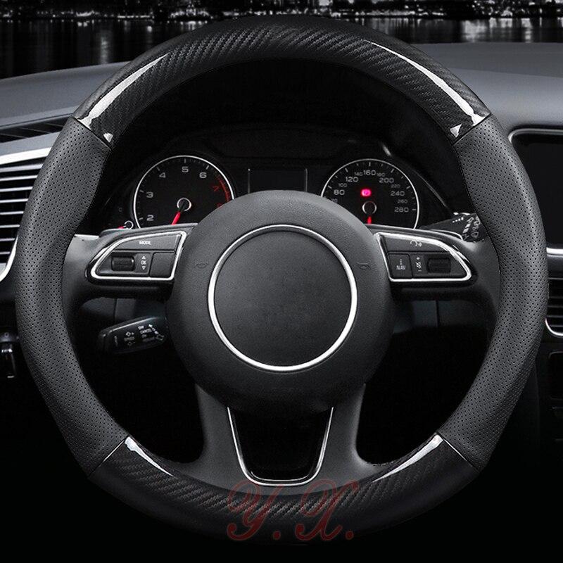 High Quality Carbon Fiber Car Steering Wheel Cover Genuine Leather For BMW E36 E46 For Audi A3/A4/A5/A6/A8/Q3/Q5/Q7