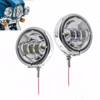 Chrome 4.5'' INCH Round LED Fog Driving lamp lights with chrome Housing Bracket Mount Ring Bucket for Motorcycle Harley Touring