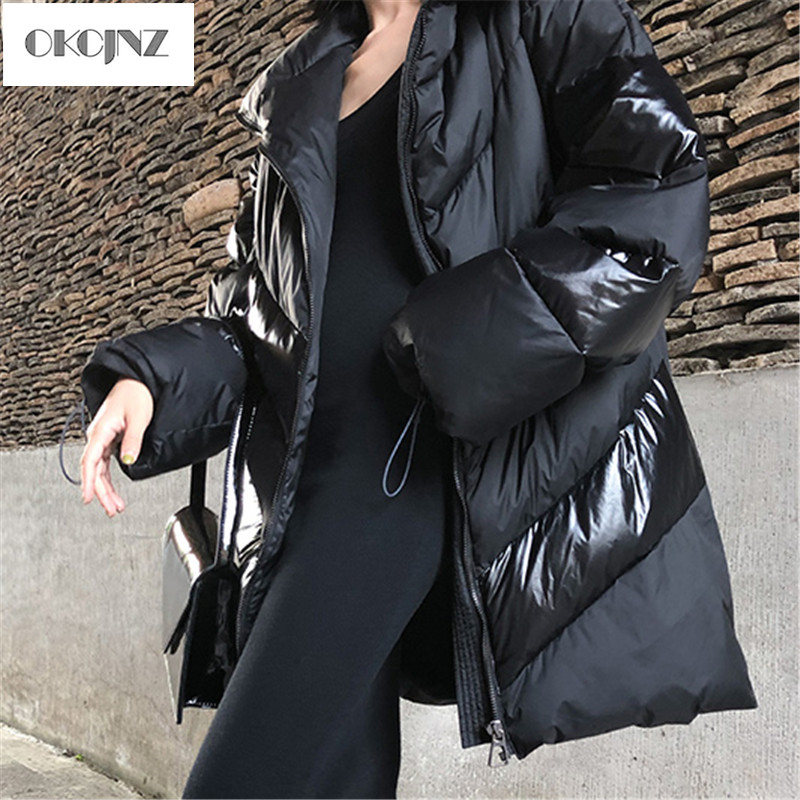 2019 New Loose Straight Tube Women Winter Cotton Coat Fashion Casual Solid Color Long Thick Female Cotton Padded YY036